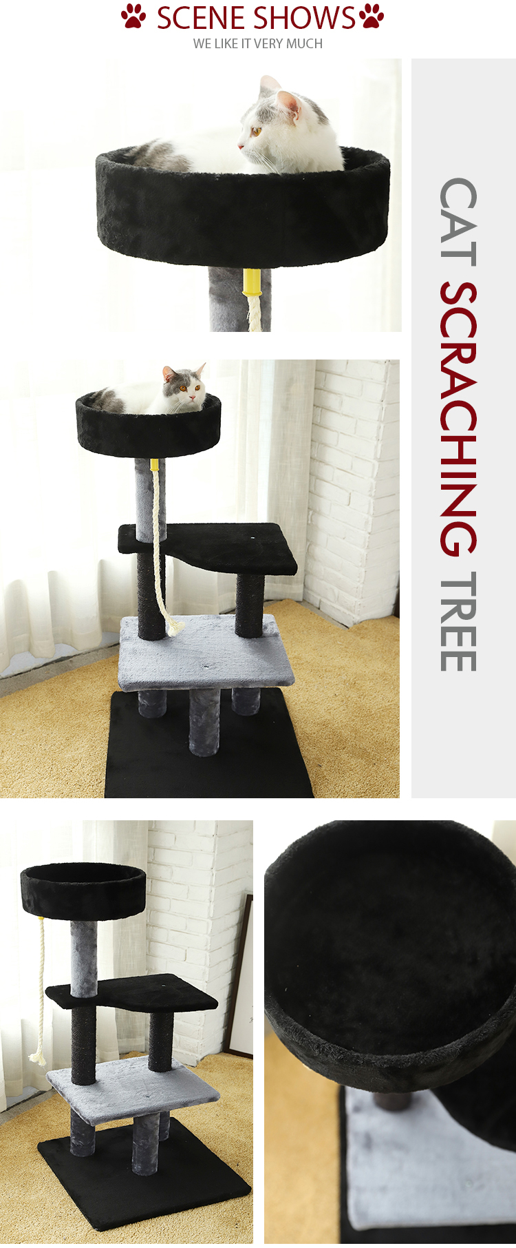 Hot Selling Outdoor Cat Scratching Tree, Cat Climbing Modern Luxury Large Cat Tree