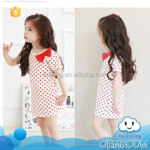 Korean style new fashion cute girls little dot cotton frocks designs children models one piece dress stylish dress shirt design
