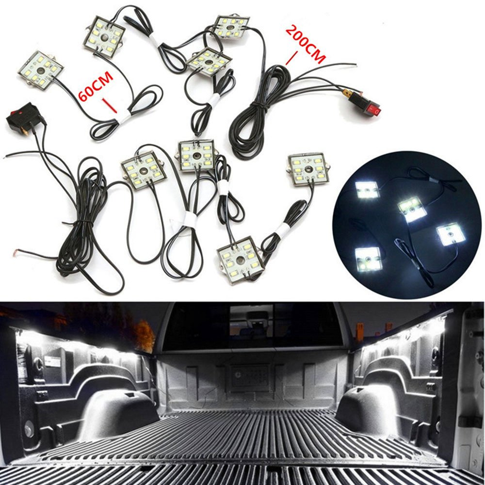 Pulusi LED Lights for Truck Bed led Lighting Kit with 48 Super Bright SMD LEDs Cargo Pickup Bed Light Waterproof for RV Boat 8 Pods