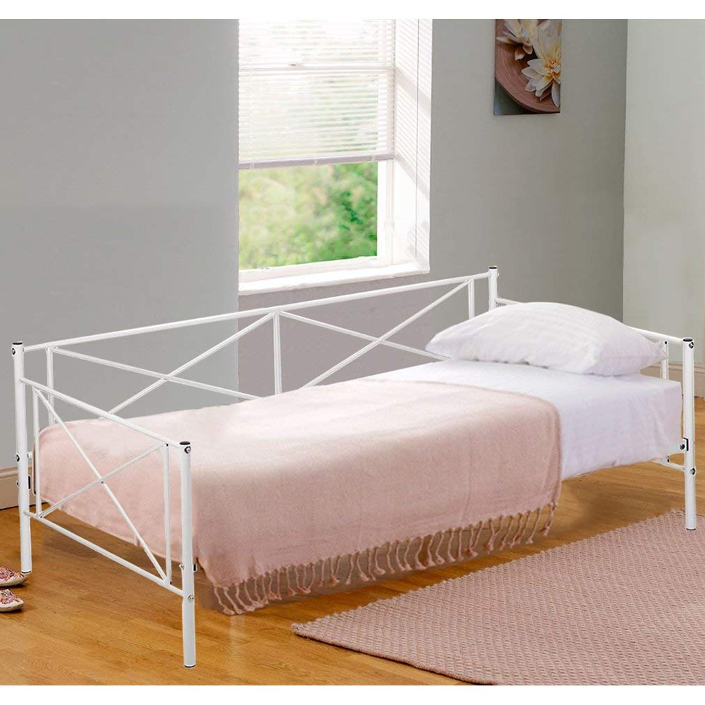 Daybed Frame Metal Platform Bed Heavy Duty Steel Slats Twin Box Spring and Foam Mattress Set Living Guest Room and Children Bed Sofa