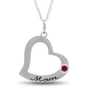 Personalized Mom Heart Gift for Mom Necklace, Mom Heart Pendant With Personalized Birthstone In Stainless Steel, Heart Mom Stamp