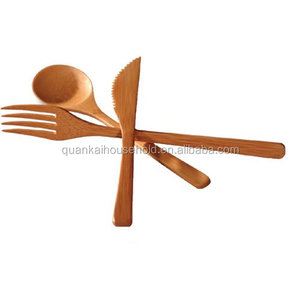 3 Pieces Bamboo Kitchen Utensil Wooden Cooking Tool Set, Fork, Knife and Spoon