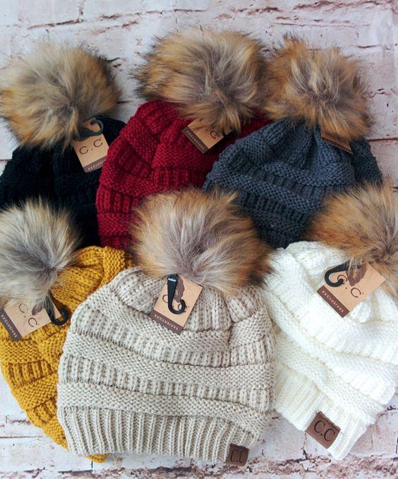 Cc Beanie,Fur Pom Pom Cc Beanie Hats