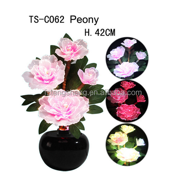 2015 no moq Fashion novelty made in China led color changing fiber optic decorative <strong>flower</strong>
