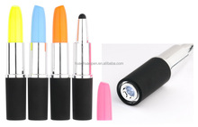 fancy lipstick shaped stylus touch screen pen with led light