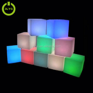 Cheap modern design waterproof changing color light plastic bar stool cube led chair