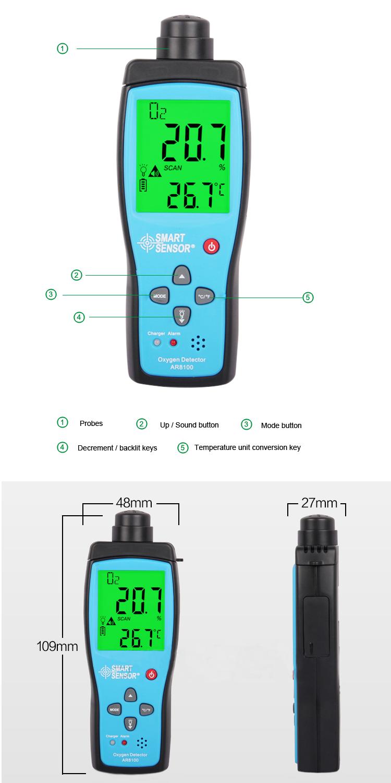 Ar8100 Smart Sensor Portable Air Oxygen Concentration Detector ...