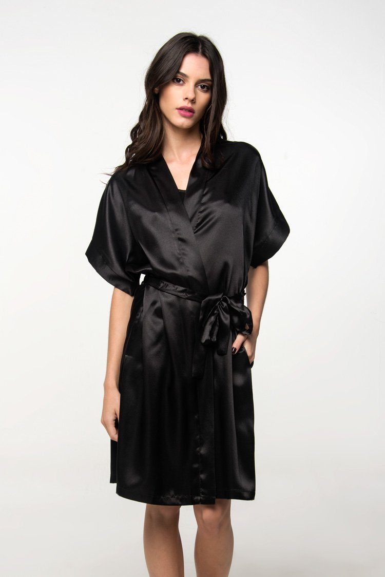 56f4d7886cc6 JJWZAA Bathrobe Bathrobe Spring Summer Woman Black Short Sleeved Nightgown Silk  Bathrobes Silk Long Pajamas