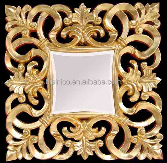 Square Antique Gold Framed Decorative Wall Mirror Carved