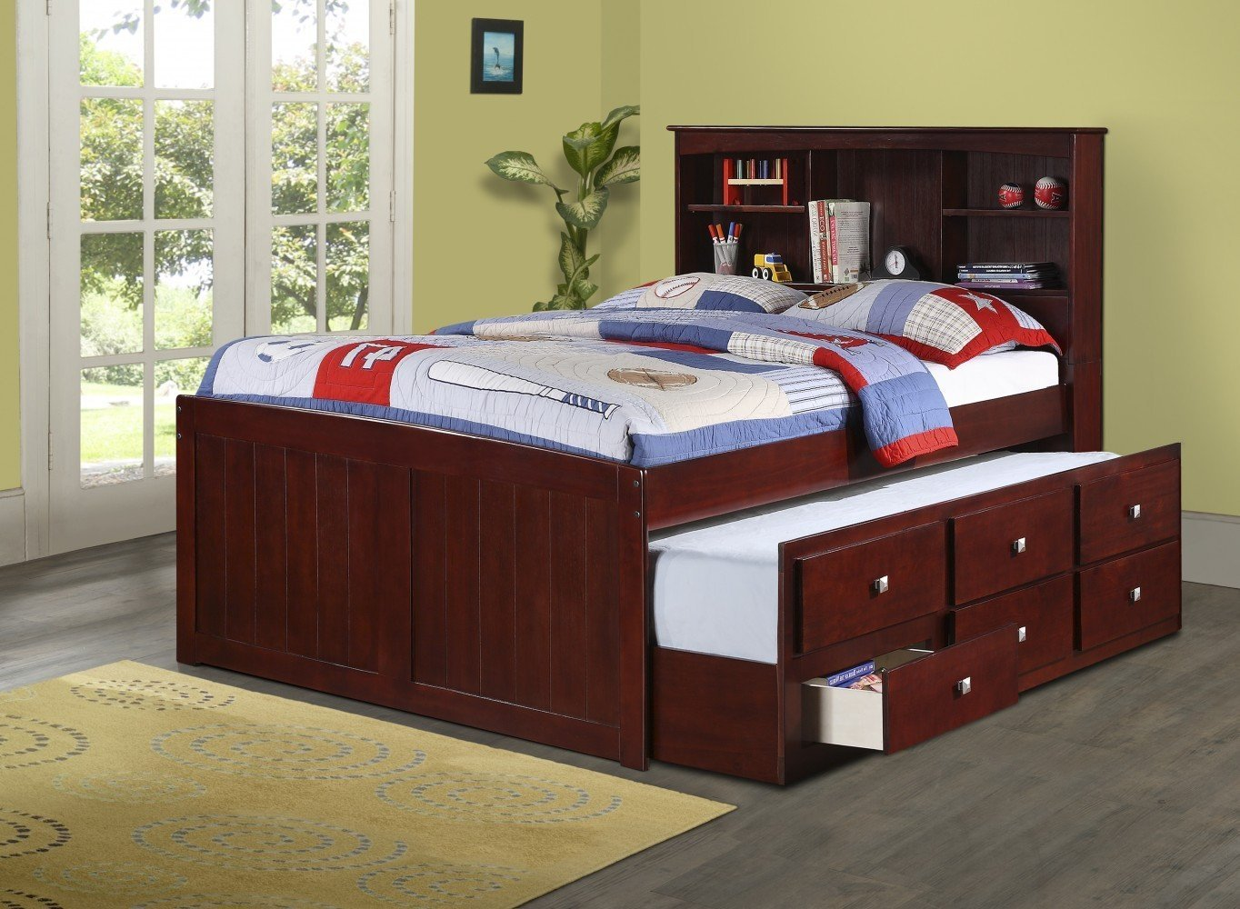 Captains Full Bed for Kids with Bookcase Headboard & Free Storage Pockets