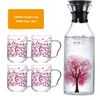 1400 ml Sakura (gorilla Glass) 물병에 투 와 Sakura 컵