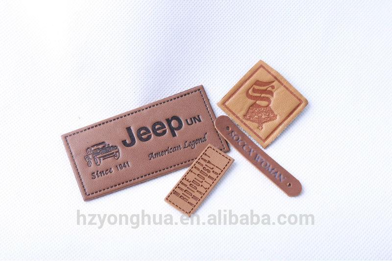 2015 Best Sale Custom Logo Embossed Leather Label Leather