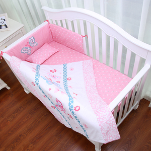 Pink color baby cot bed bedding sets mini crib breathable bumper