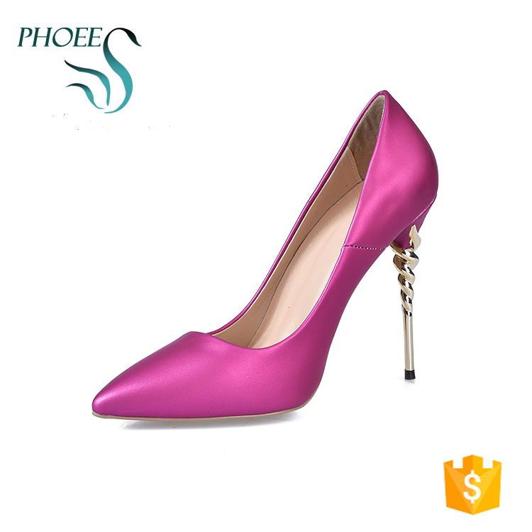 Phoees Fuchsia Fashionable Pointed Toe Strange Style Heels Top Quality Women Dress Pumps Shoes