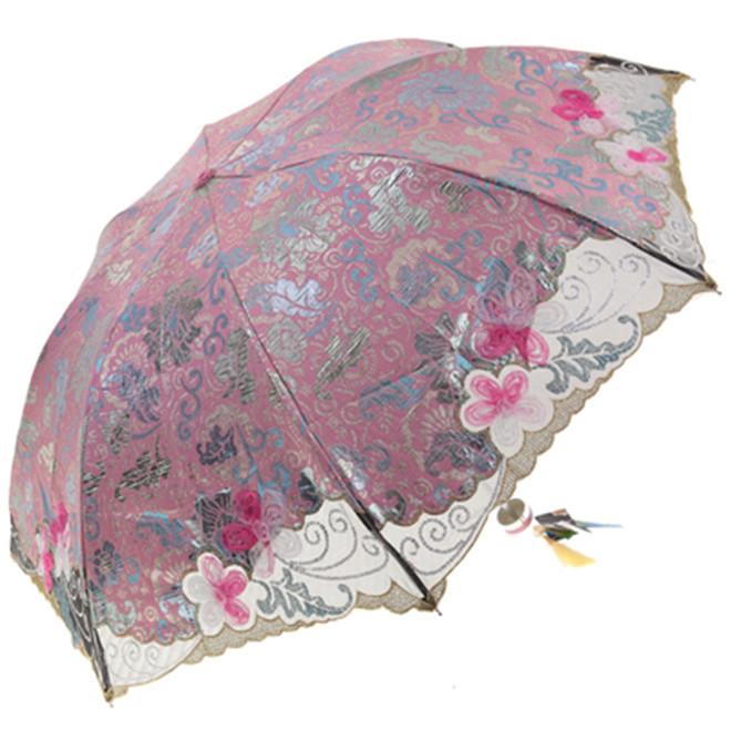 Новый от дождя название / черный покрытие / торт / точка / хризантемы / нерегулярные / защиты от солнца женщин / Auti анти-уф + складной. Зонтик