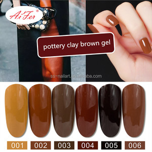 Wholesale price gel nail polish bulk pottery clay brown color UV gel beauty soak off nail gel polish supplier