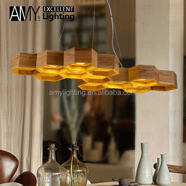 Modern Nordic Wooden Honey Comb Hive LED Suspension Chandelier