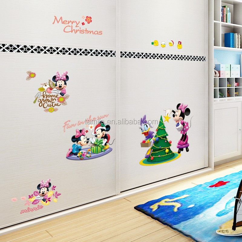 Cartoon Kids Room Decor Mickey Mouse Wall Stickers Baby Decorative Minnie Mickey  Wall Decals Merry Christmas Part 36