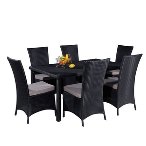 Restaurant arm garden furniture sets rattan chair dining table modern outdoor table and chairs
