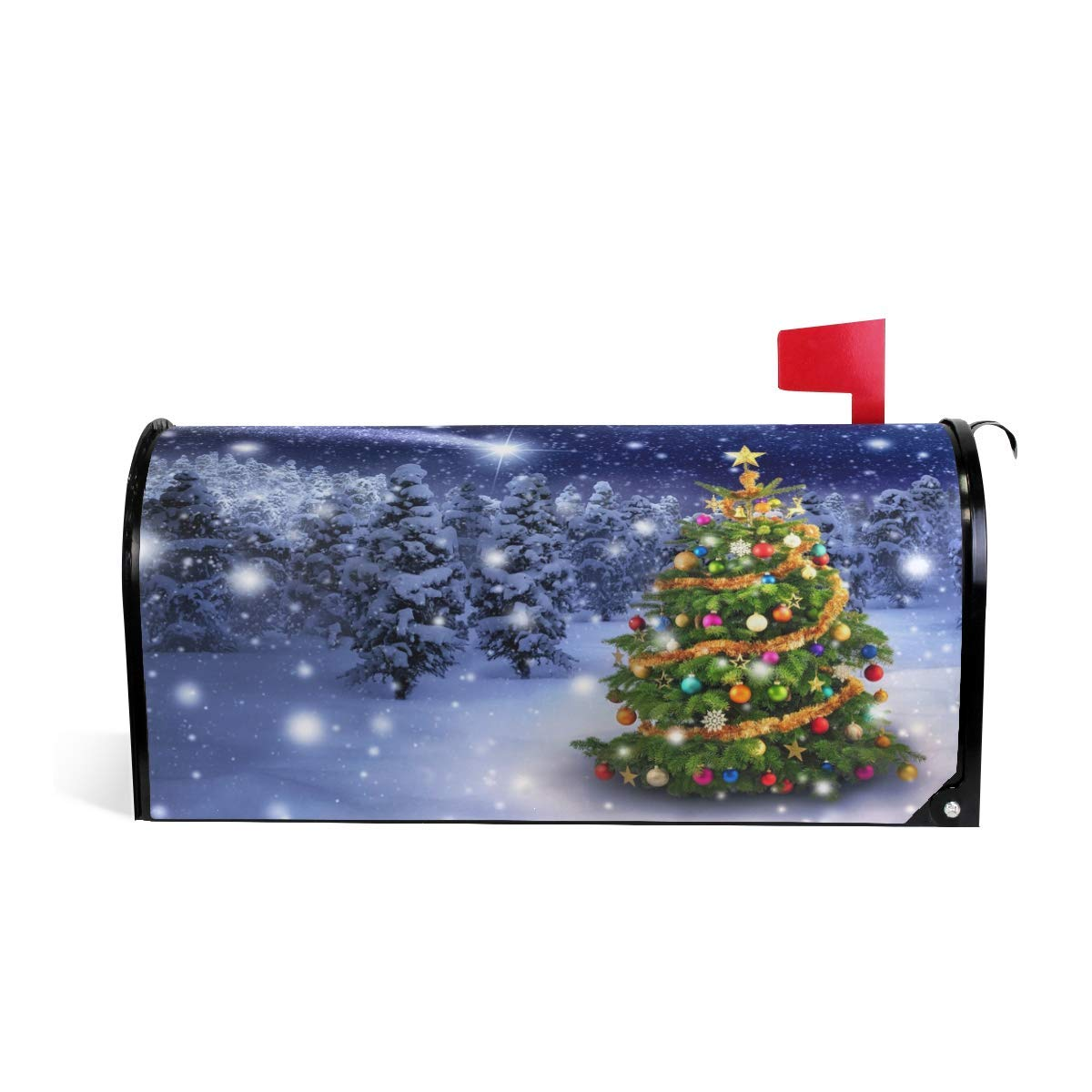 Merry Christmas Welcome Magnetic Mailbox Post Box Cover Wraps, Tree Snow Standard Size Makover MailWrap Garden Home Decor