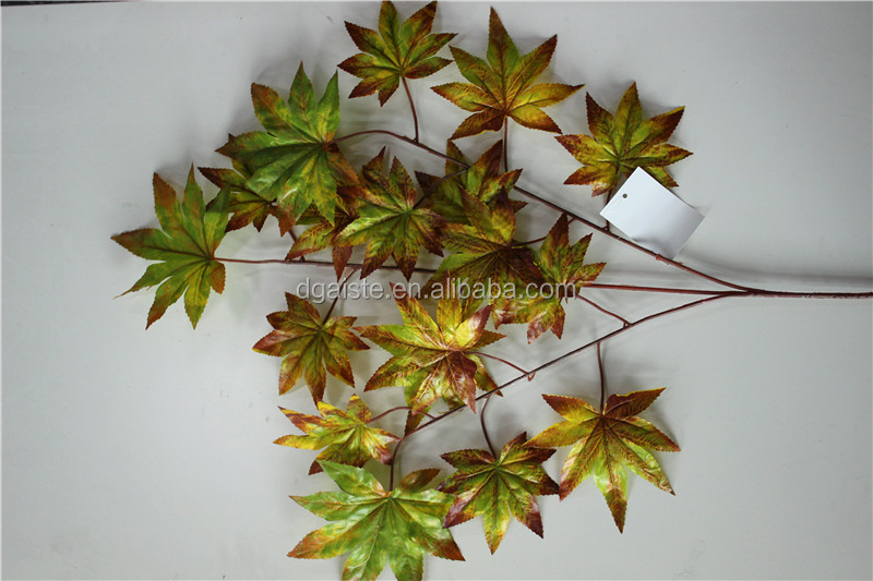 3 branches 18 leaves artificial America brown maple leaf