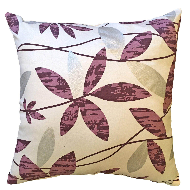"That's Perfect! Modern Leafy Vines 18""x18"" Decorative Silk Throw Pillow Sham - Fits 18"" x 18"" Insert (Mauve)"