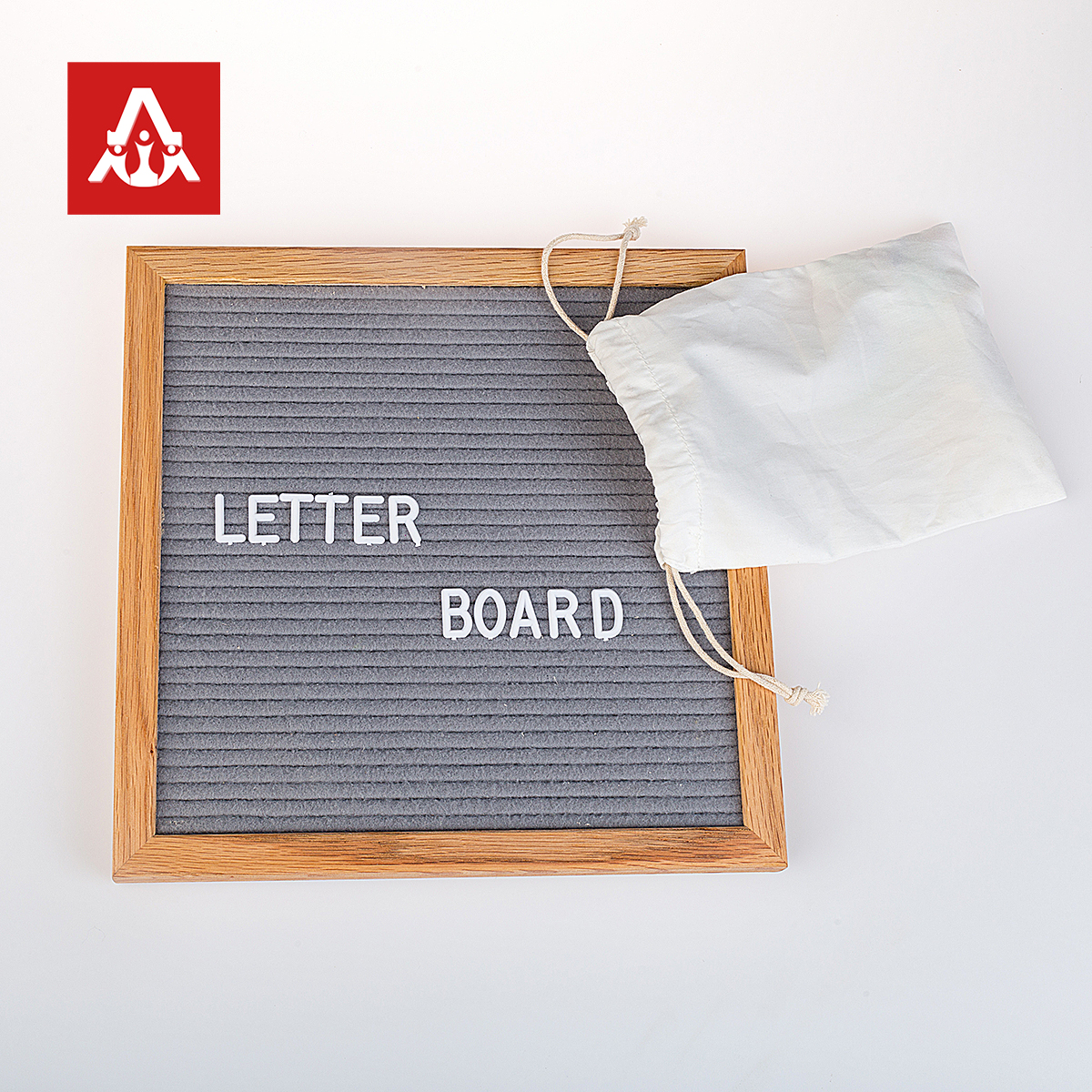 Hot new products custom size 10x10 inch <strong>wooden</strong> frame felt letter board with 340 letters
