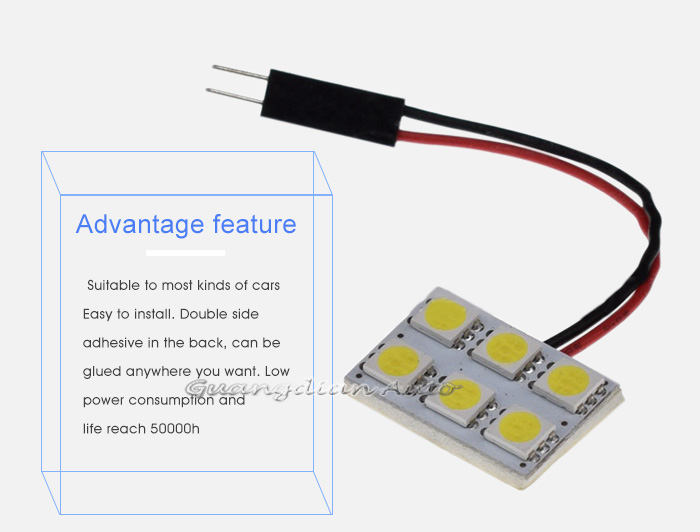 Tcart 12v auto led reading light 5050 6smd car indoor light with T10 BA9S Festoon connector