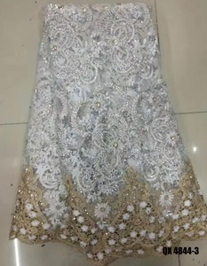 embroidered tulle fabric with crystals high quality colorful wedding dress nigerian lace applique flowers embroidery