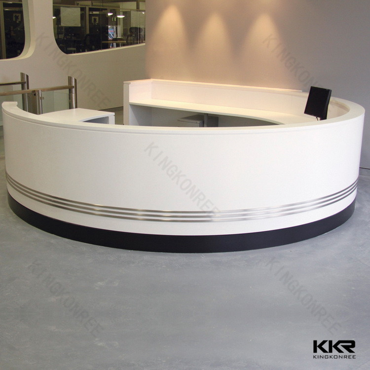 Solid Surface Semi Circle Reception Desk Office Furniture Front