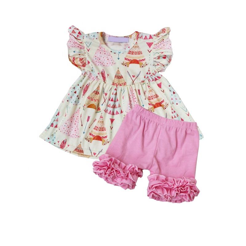 4545c789a84e Boutique rehacer las niñas verano túnicas camisa y juego de pantalones  cortos trajes de ropa de