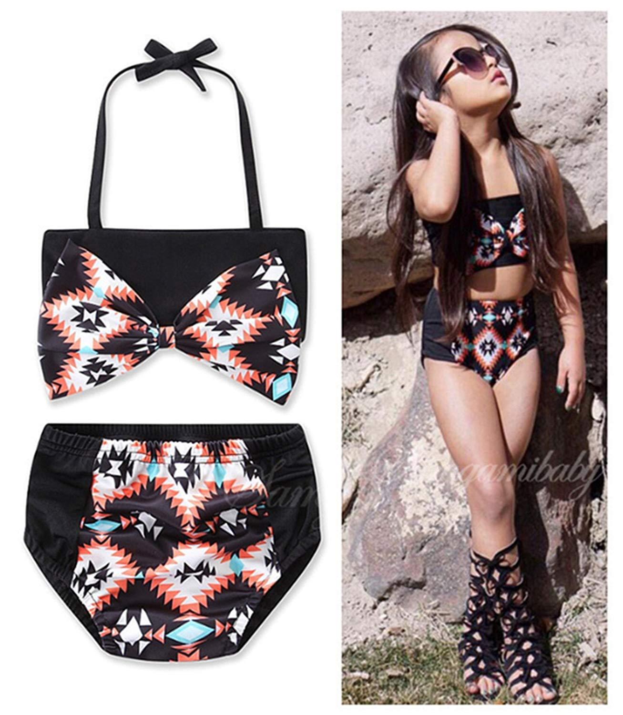 689cef132d Kids Girls Cute Bowknot Halter Swimsuit Printing Two-pieces Bikini Swimwear