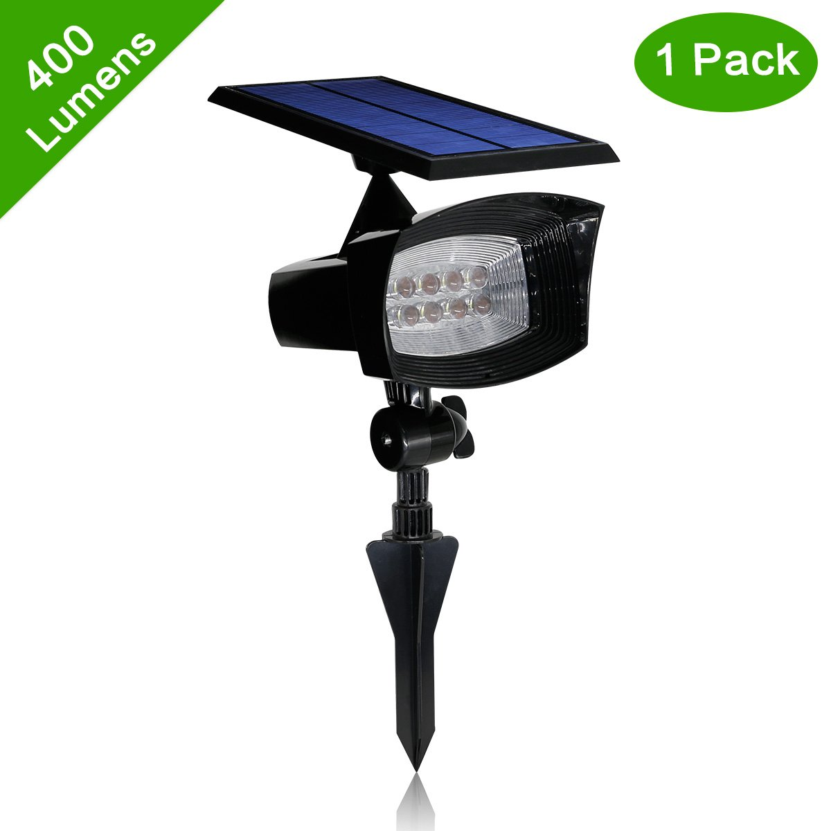 HKYH [400 Lumens 2-in-1] Solar Powered Led Spotlight 2 in1 Installation 8 Enhanced LED Solar Spotlight Waterproof Outdoor Wall Light,Security Lighting, Path Lights, Landscape Solar Flag Pole Light