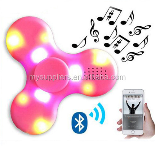 LED mini bluetooth speaker music fidget spinner EDC hand spinner for autism fidget toy
