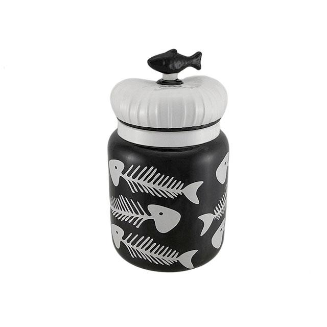 Ceramic Fishbone Kitty Treat Jar