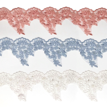 best quality bead pearl lace fabric for handmade flowers BK-FB090