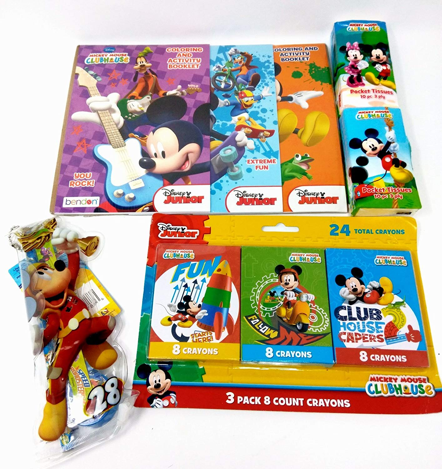 Back to School Toddler Pre-school Elementary School Supplies Tissues (2) Crayon 24 Pack Coloring Book & Activity Book Pouch Pencil Eraser & Pencil Sharpener Goofy Mickey Mouse Donald