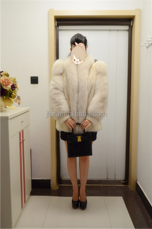 Adorable Design 2017 Ladies Luxury Mink Fur And Fox Fur Shrugged Coat With Fox Collar In Front
