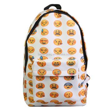 d2ac794e490 Canvas rugzak emoji smiley schooltassen voor tieners meisjes, emoji rugzak