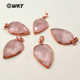 WT-P1297 WKT wholesale pink color teardrop faceted raw stone charm rose gold plated rose quartz pendant