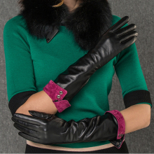 Ladies Winter Warm Long Touch Screen Leather Gloves