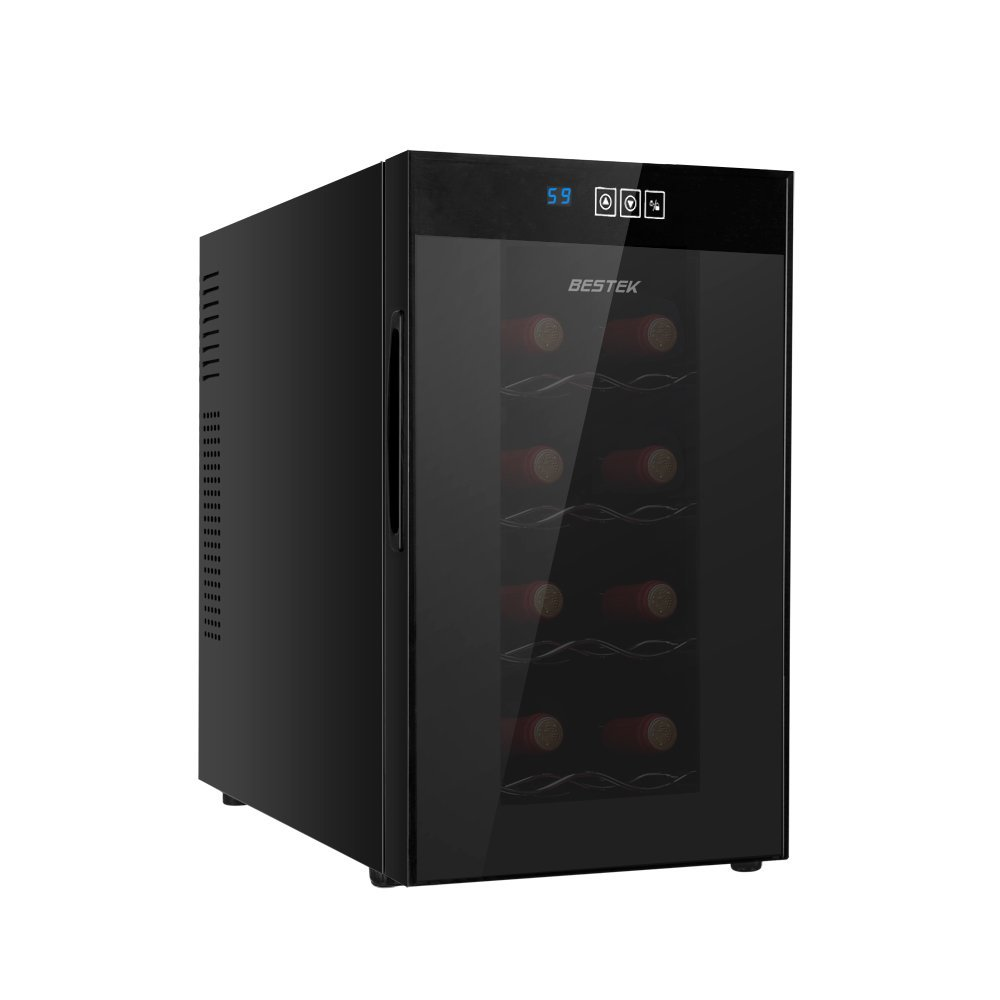 BESTEK 8 Bottle Thermoelectric Red & White Wine Cooler/Chiller, Counter Top Wine Cellar w/Sculpted Chrome Shelves, Double-Layer Tempered Glass Door, Quiet Operation Fridge (ETL Listed)