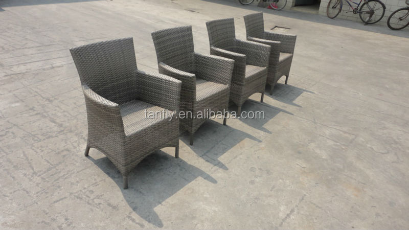 Luxury outdoor furniture square rattan dining table and chairs teak wood