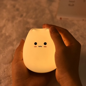 Colorful silicone animal lamp induction led small night light creative color lamp Small cute cat silicone USB charging lamp