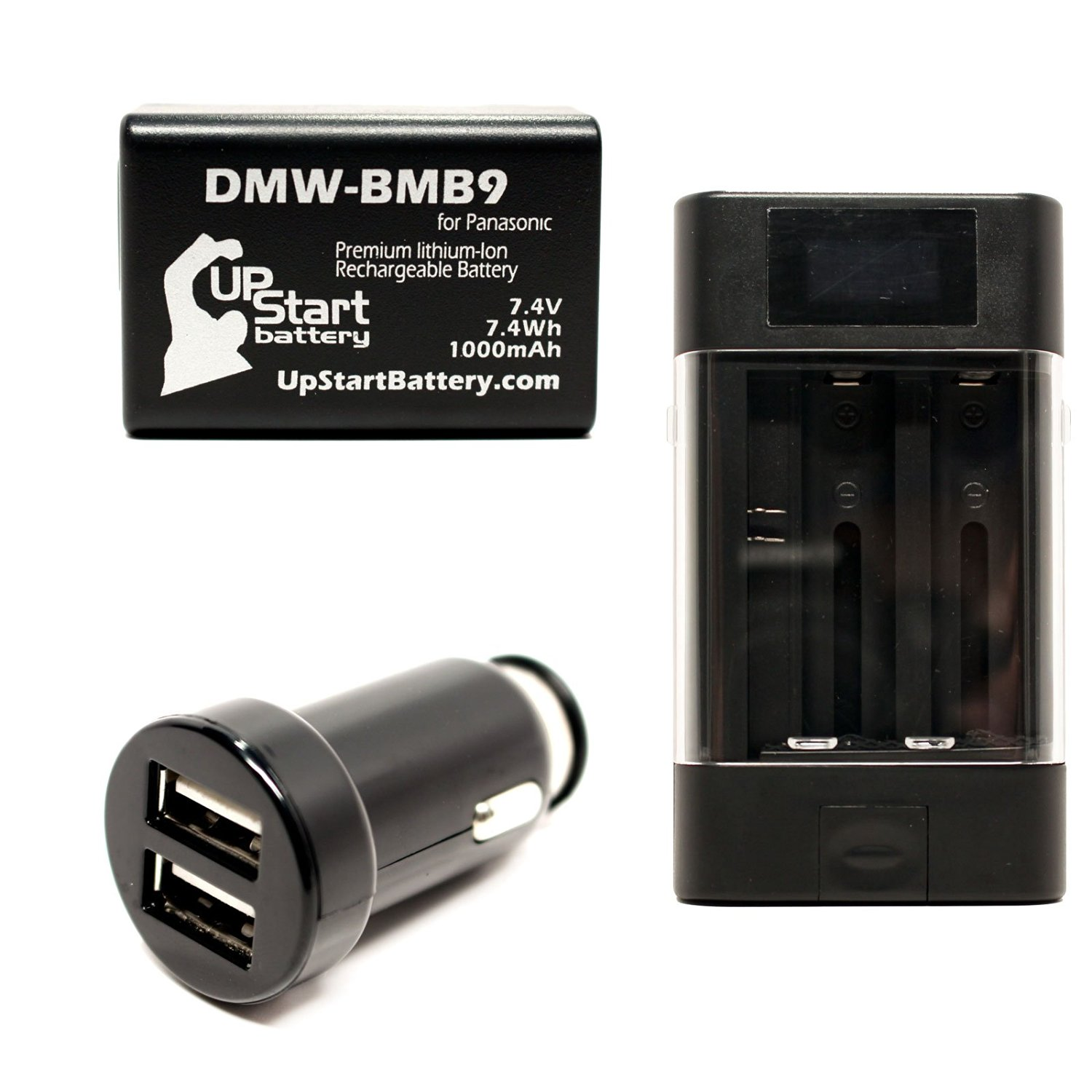 Panasonic Lumix DMC-FZ70 Battery with Universal Charger and Dual USB Car Charger - Replacement Panasonic DMW-BMB9 Digital Camera Battery and Charger