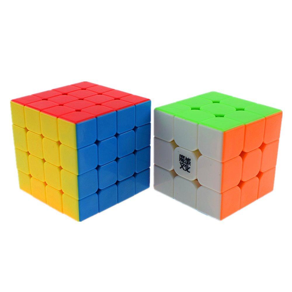 CuberSpeed Speedcubing Advanced Bundle Moyu Aolong 3x3 Stickerless Bright & Moyu Aosu4x4 Stickerless Bright Moyu 3x3x3 & 4x4x4 Magic cube Stickerless Red Puzzle