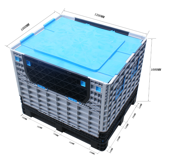 Plastic folding box crates and container sealer for fruit and vegetable