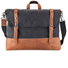 crazy horse leather canvas travel shoulder messenger bag for men
