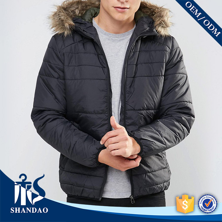 Guangzhou Shandao New Listing Men Duck Feather Cap Zip Closure Elastic Cuff Long Sleeve Quilt Navy Blue OEM Down Feather Jacket