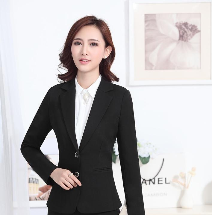 fae4a85225b Get Quotations · Formal Uniform Style Spring Autumn Female Blazer Coat  Office Ladies Work Wear Jackets Tops Professional Blazers